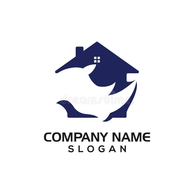 Λογότυπο, εικονίδιο, γραφικός πόρος της επιχείρησης ακίνητων περιουσιών ή κατασκευής με την έννοια ρινοκέρων και σπιτιών ελεύθερη απεικόνιση δικαιώματος