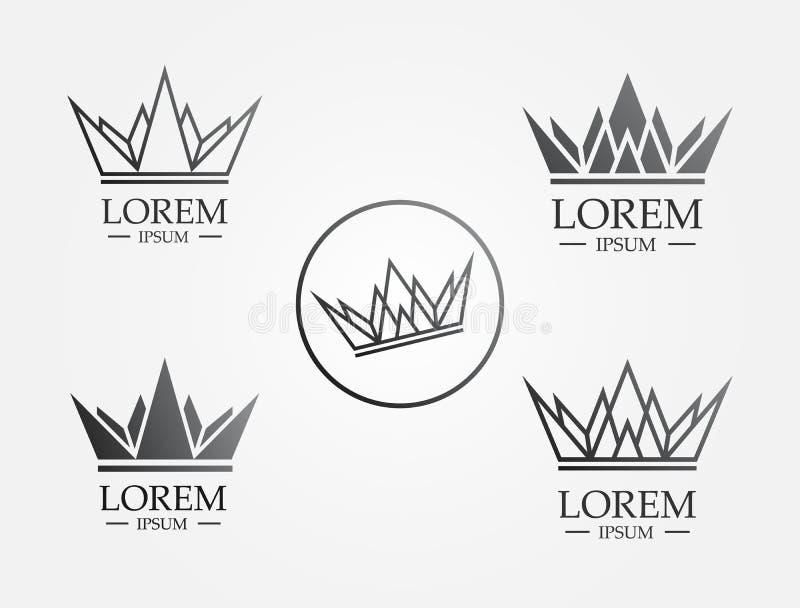 Λογότυπο εικονιδίων γραμμών κορωνών διανυσματική απεικόνιση