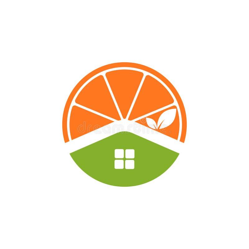 Λογότυπο εικονιδίων εγχώριου χυμού από πορτοκάλι ελεύθερη απεικόνιση δικαιώματος