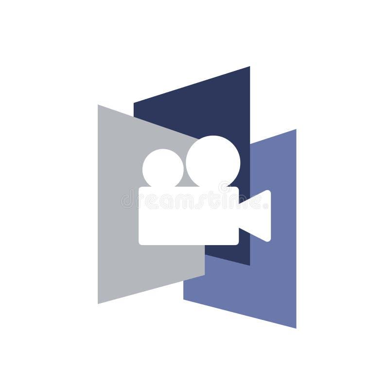 Λογότυπο εικονιδίων καμερών για την τηλεοπτική επιχείρηση παραγωγής διανυσματική απεικόνιση