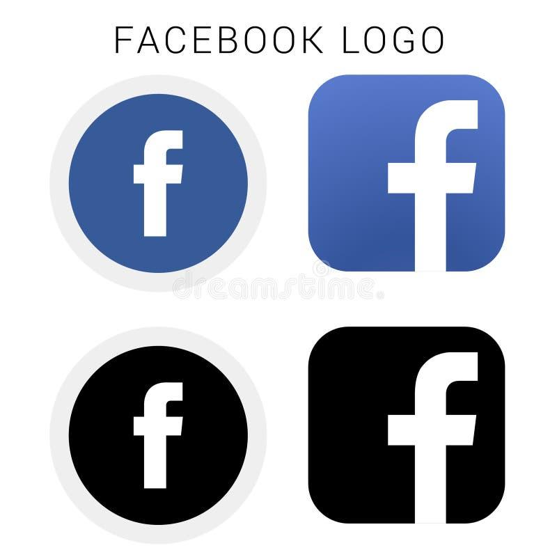 Λογότυπο εικονιδίων Facebook με το μαύρο & άσπρο και διανυσματικό αρχείο στοκ φωτογραφία
