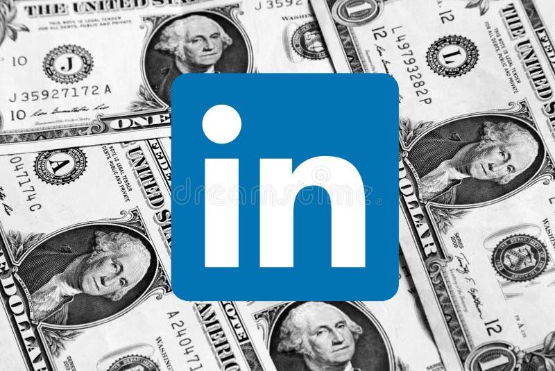 Λογότυπο εικονιδίων Linkedin στοκ φωτογραφία