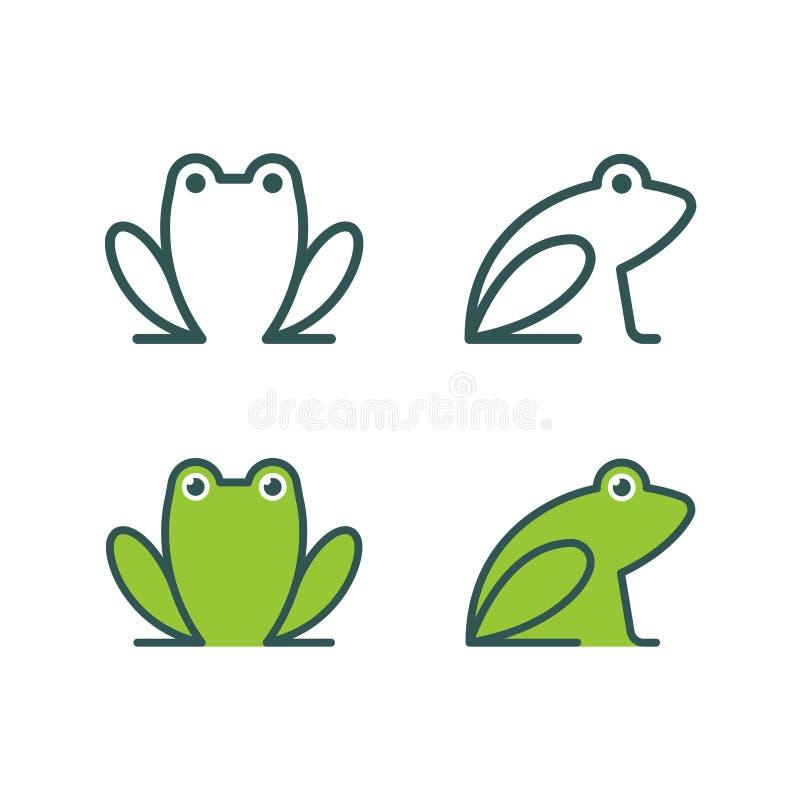 Λογότυπο εικονιδίων βατράχων διανυσματική απεικόνιση