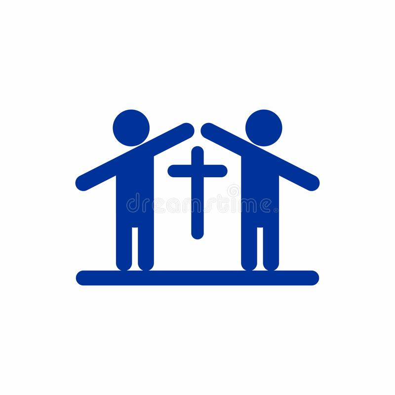 Λογότυπο εκκλησιών Άνθρωποι που διαμορφώνουν μια εκκλησία διανυσματική απεικόνιση
