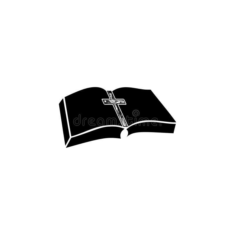 Λογότυπο εκκλησιών Βίβλων, κοινωνία Βίβλων, Βίβλος και ξύλινο διαγώνιο εικονίδιο απεικόνιση αποθεμάτων