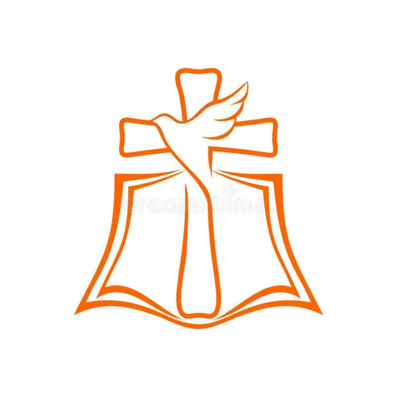 Λογότυπο εκκλησιών Η ανοικτή Βίβλος, ο σταυρός του Ιησούς Χριστού και το περιστέρι είναι ένα σύμβολο του ιερού πνεύματος απεικόνιση αποθεμάτων