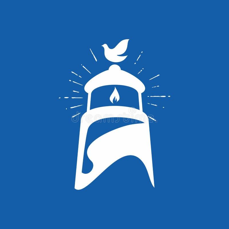 Λογότυπο εκκλησιών Περιστέρι και φάρος ελεύθερη απεικόνιση δικαιώματος