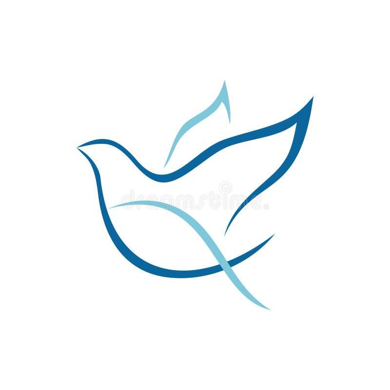 Λογότυπο εκκλησιών Περιστέρι και ψάρια - σύμβολα του ιερών πνεύματος και του Χριστού ελεύθερη απεικόνιση δικαιώματος
