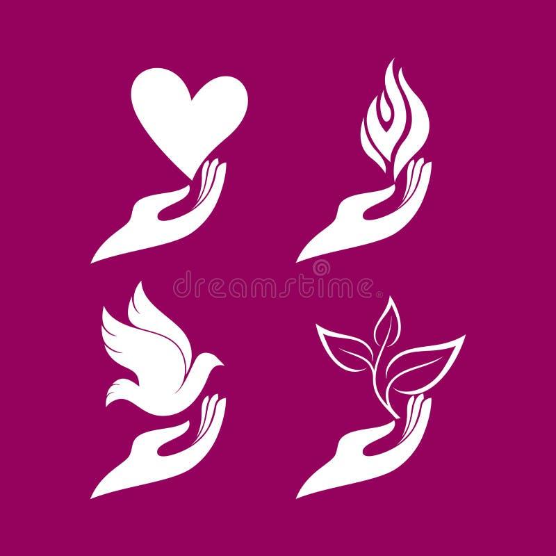Λογότυπο εκκλησιών Σύνολο - χέρια με μια καρδιά και ένα περιστέρι, μια φλόγα και έναν νεαρό βλαστό διανυσματική απεικόνιση