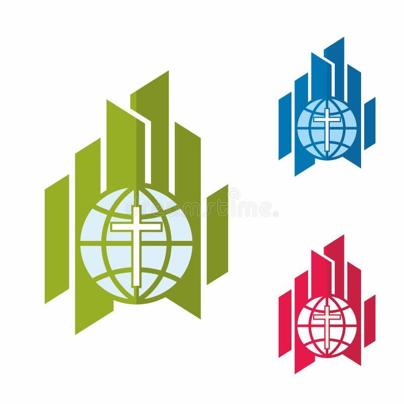 Λογότυπο εκκλησιών Χριστιανικά σύμβολα Μοντέρνος σταυρός του Ιησούς Χριστού, της σφαίρας και του γραφικού διανυσματικού στοιχείου απεικόνιση αποθεμάτων