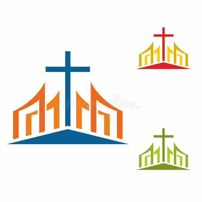 Λογότυπο εκκλησιών Χριστιανικά σύμβολα Μοντέρνος σταυρός του Ιησούς Χριστού μεταξύ των γραφικών διανυσματικών στοιχείων διανυσματική απεικόνιση
