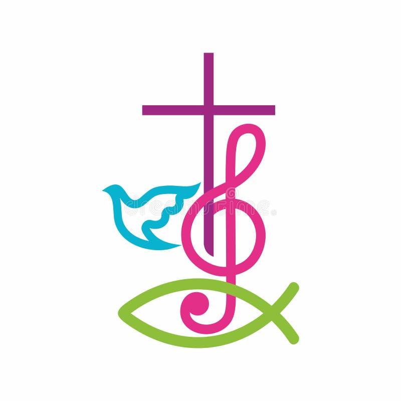 Λογότυπο εκκλησιών Χριστιανικά σύμβολα Ο σταυρός του Ιησούς Χριστού και του τριπλού clef ως σύμβολο του επαίνου και λατρεία στο Θ διανυσματική απεικόνιση