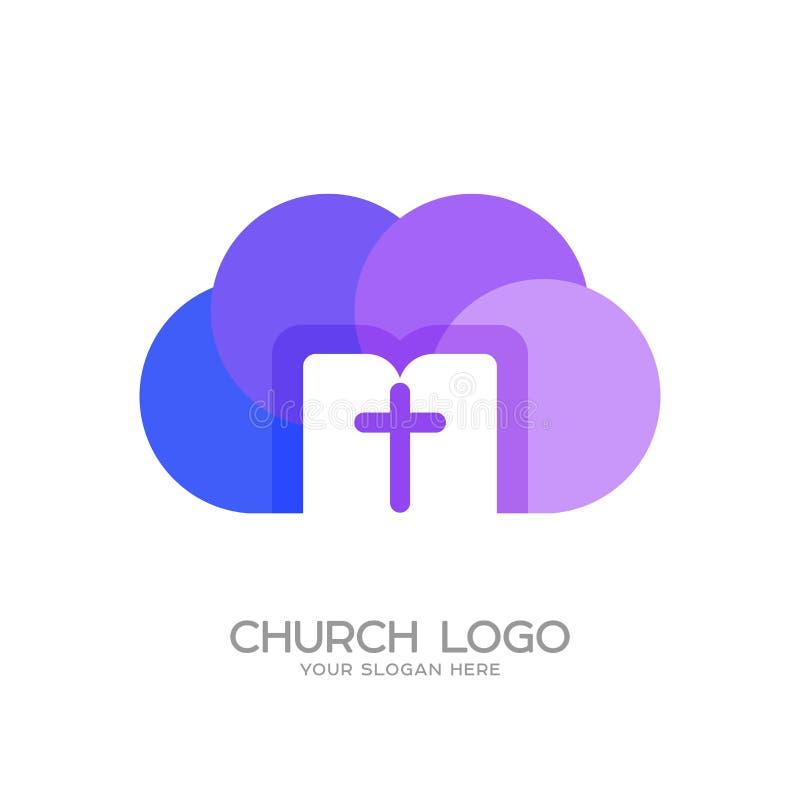 Λογότυπο εκκλησιών Χριστιανικά σύμβολα Ο σταυρός του Ιησούς Χριστού, του σύννεφου και της ανοικτής Βίβλου ελεύθερη απεικόνιση δικαιώματος