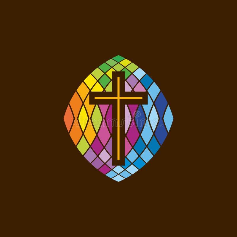 Λογότυπο εκκλησιών Χριστιανικά σύμβολα Ο σταυρός του Ιησού στο λεκιασμένο γυαλί ελεύθερη απεικόνιση δικαιώματος