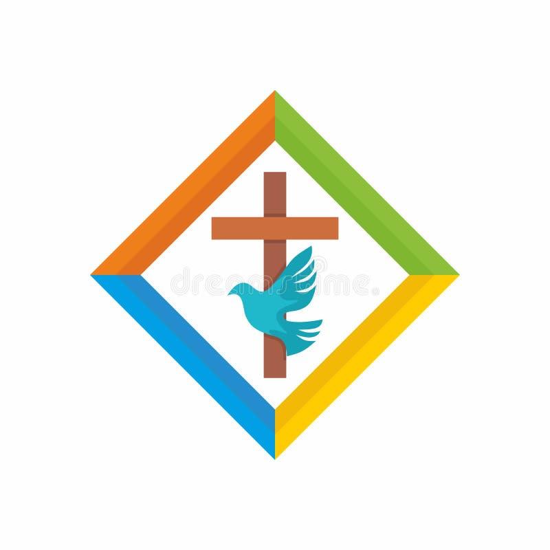 Λογότυπο εκκλησιών Χριστιανικά σύμβολα Ο σταυρός του Ιησού, το ιερό πνεύμα - περιστέρι διανυσματική απεικόνιση