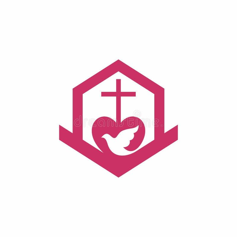 Λογότυπο εκκλησιών Χριστιανικά σύμβολα Ο σταυρός του Λόρδου και του Savior Ιησούς Χριστός, η οικοδόμηση της εκκλησίας, το ιερό πν διανυσματική απεικόνιση