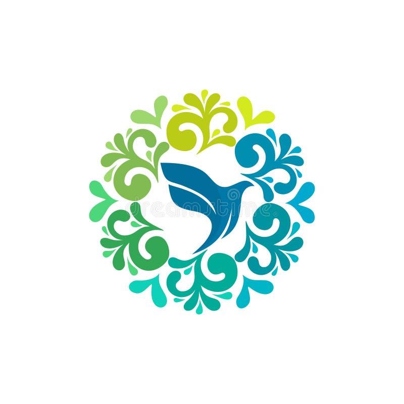 Λογότυπο εκκλησιών Χριστιανικά σύμβολα Περιστέρι - το σύμβολο του ιερού πνεύματος διανυσματική απεικόνιση