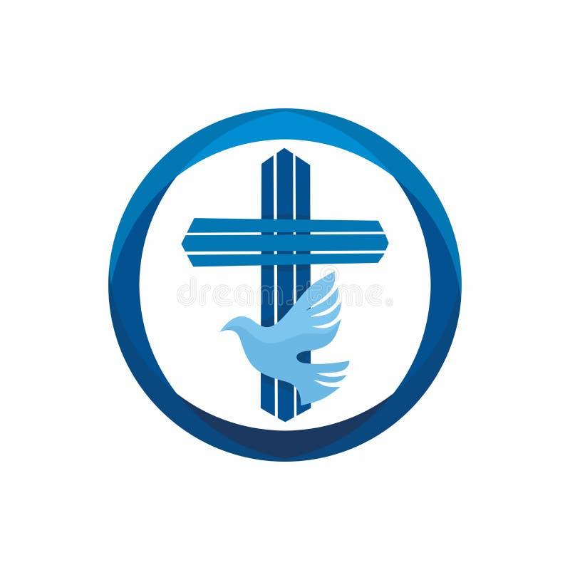 Λογότυπο εκκλησιών Χριστιανικά σύμβολα Σταυρός και περιστέρι του Ιησού ` - το ιερό πνεύμα διανυσματική απεικόνιση