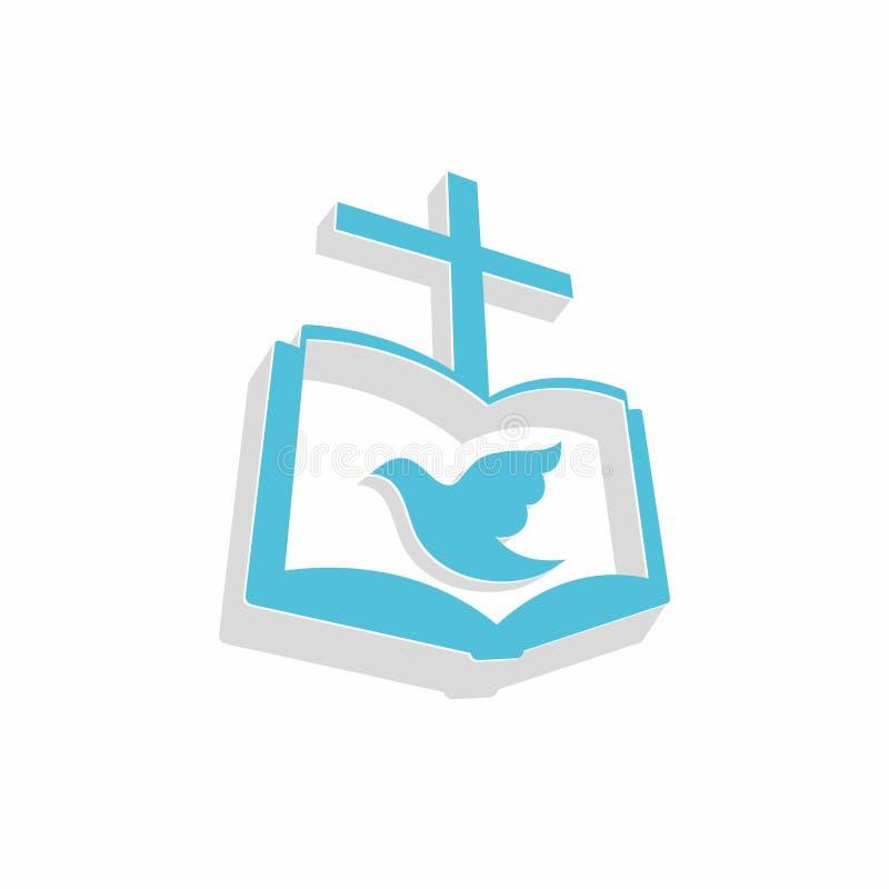 Λογότυπο εκκλησιών Χριστιανικά σύμβολα Το Ευαγγέλιο, ο σταυρός του Ιησούς Χριστού και το περιστέρι - το ιερό πνεύμα διανυσματική απεικόνιση