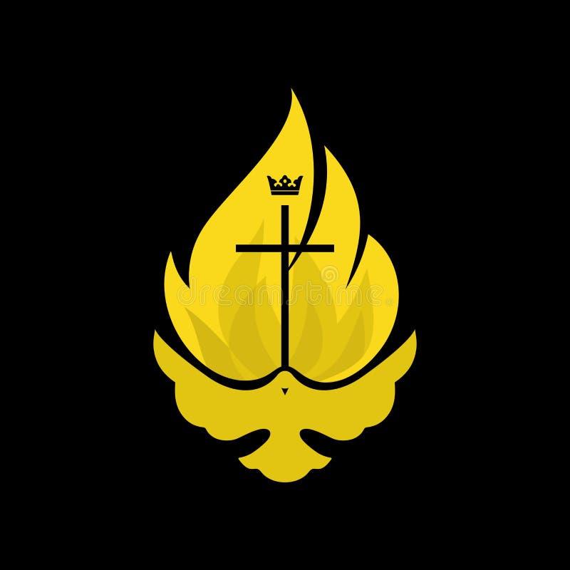 Λογότυπο εκκλησιών Χριστιανικά σύμβολα Το περιστέρι και η φλόγα του ιερού πνεύματος, το βασίλειο του Θεού ελεύθερη απεικόνιση δικαιώματος