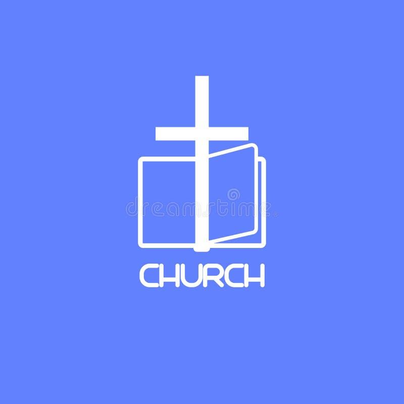 Λογότυπο εκκλησιών με το βιβλίο και το σταυρό απεικόνιση αποθεμάτων