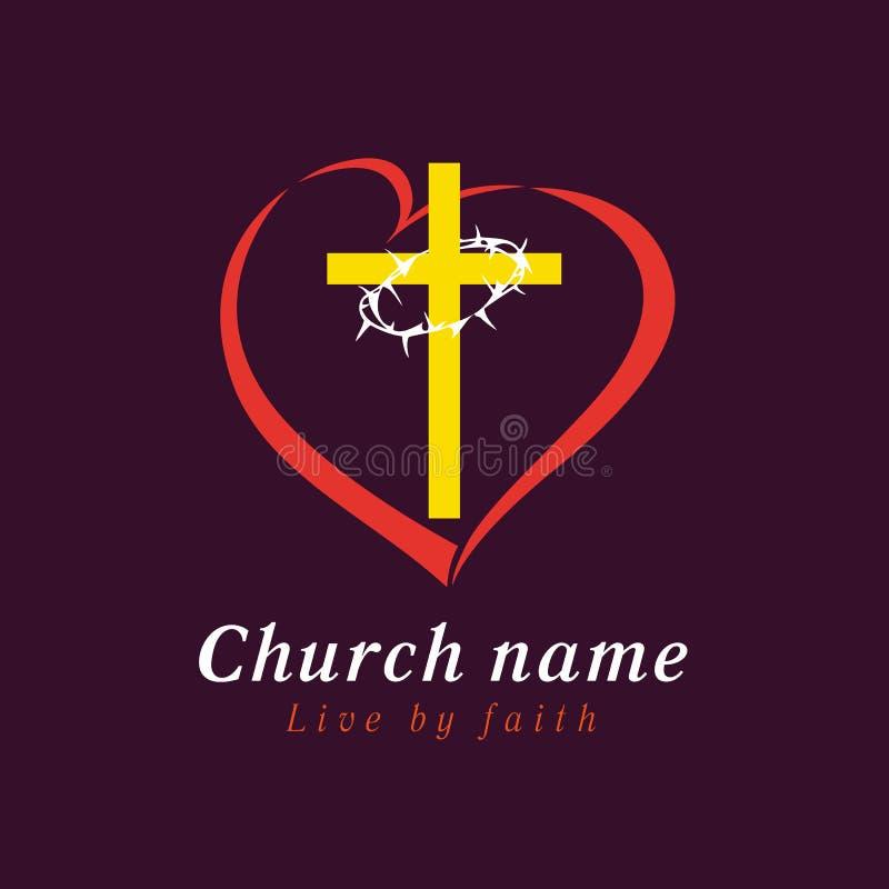 Λογότυπο εκκλησιών σταυρών και αγάπης αγκαθιών διανυσματική απεικόνιση