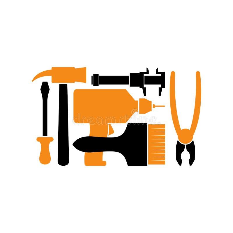 Λογότυπο επισκευής Έμβλημα εργαλείων επισκευών Σημάδι οργάνων Βιομηχανικό lo ελεύθερη απεικόνιση δικαιώματος
