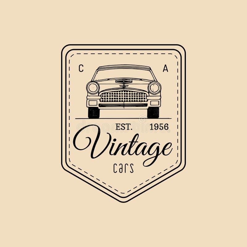 Λογότυπο επισκευής αυτοκινήτων με την αναδρομική αυτοκινητική απεικόνιση Διανυσματικό εκλεκτής ποιότητας συρμένο χέρι γκαράζ, αυτ απεικόνιση αποθεμάτων