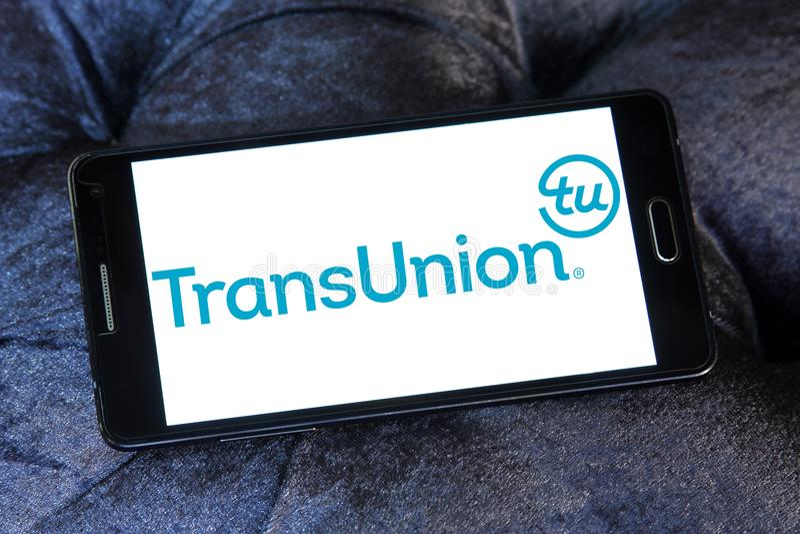 Λογότυπο επιχείρησης τεχνολογίας πληροφοριών TransUnion στοκ εικόνα