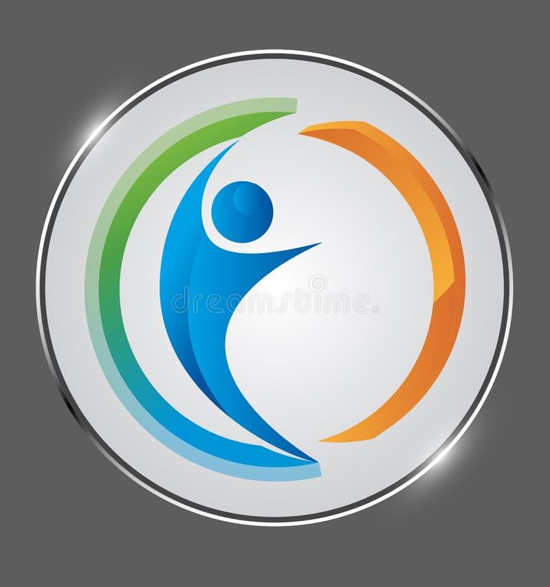 Λογότυπο επιχειρηματιών Η σύνδεση, ανθρώπινη λάμπει μετάλλιο απεικόνιση αποθεμάτων