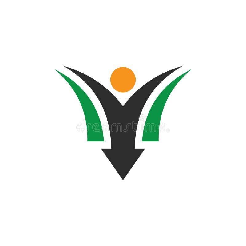 Λογότυπο επιχειρησιακής χρηματοδότησης βελών ανθρώπων διανυσματική απεικόνιση