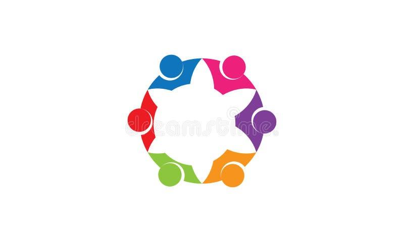 Λογότυπο εργασίας ομάδας - στρογγυλευμένο κυκλικό επιχειρησιακό ενωμένο ομάδα λογότυπο προτύπων λογότυπων ανθρώπων ένωσης εργασία απεικόνιση αποθεμάτων