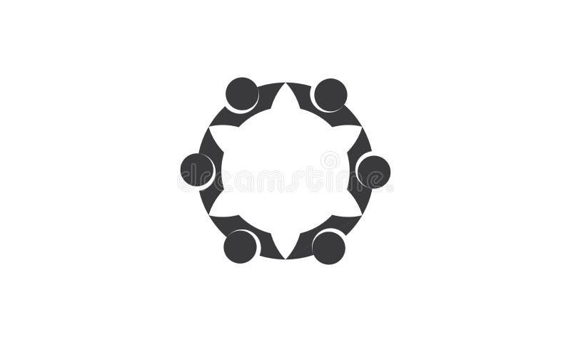Λογότυπο εργασίας ομάδας - στρογγυλευμένο κυκλικό επιχειρησιακό ενωμένο ομάδα λογότυπο προτύπων λογότυπων ανθρώπων ένωσης εργασία ελεύθερη απεικόνιση δικαιώματος