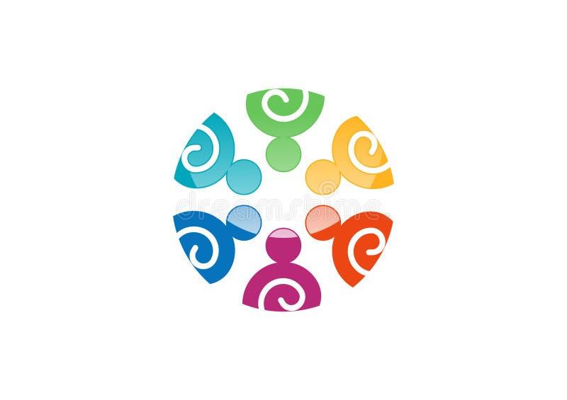 Λογότυπο εργασίας ομάδας, κοινωνικό δίκτυο, σχέδιο ομάδων ένωσης, διάνυσμα ομάδας απεικόνισης logotype απεικόνιση αποθεμάτων