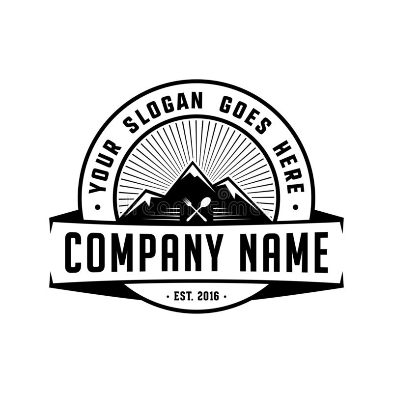 Λογότυπο εστιατορίων βουνών Πρότυπο σχεδίου βουνών Διάνυσμα και απεικονίσεις ελεύθερη απεικόνιση δικαιώματος
