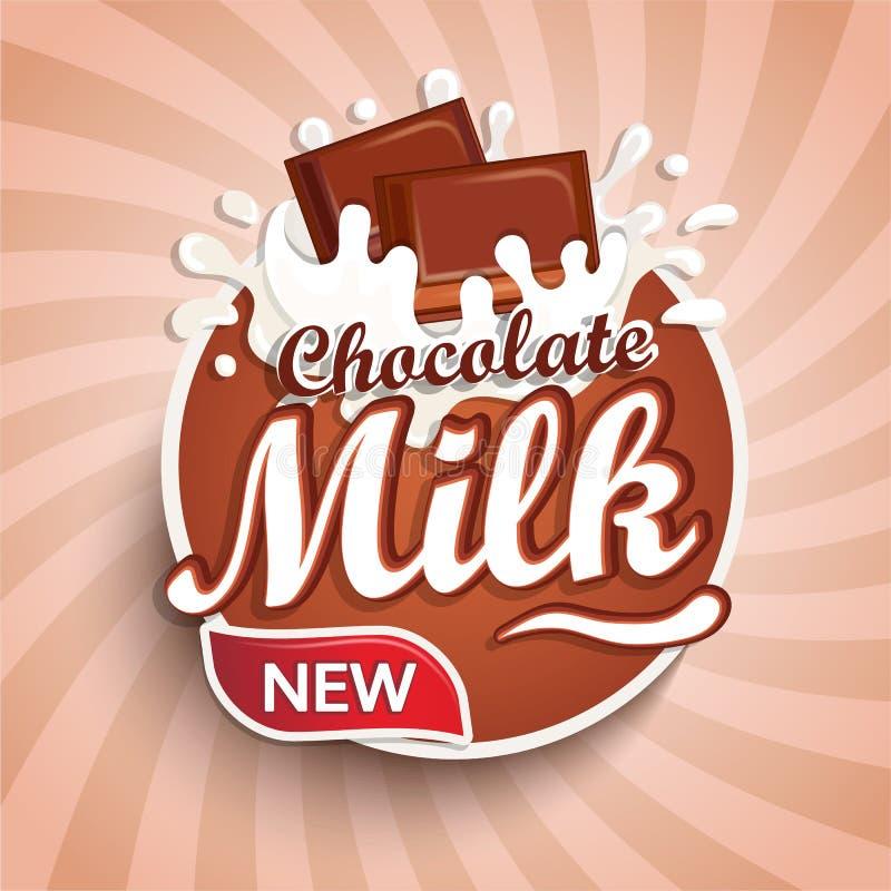 Λογότυπο, ετικέτα του φρέσκου γάλακτος σοκολάτας απεικόνιση αποθεμάτων