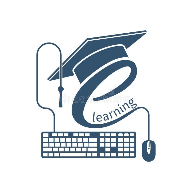 Λογότυπο ε-εκμάθησης, διάνυσμα ελεύθερη απεικόνιση δικαιώματος