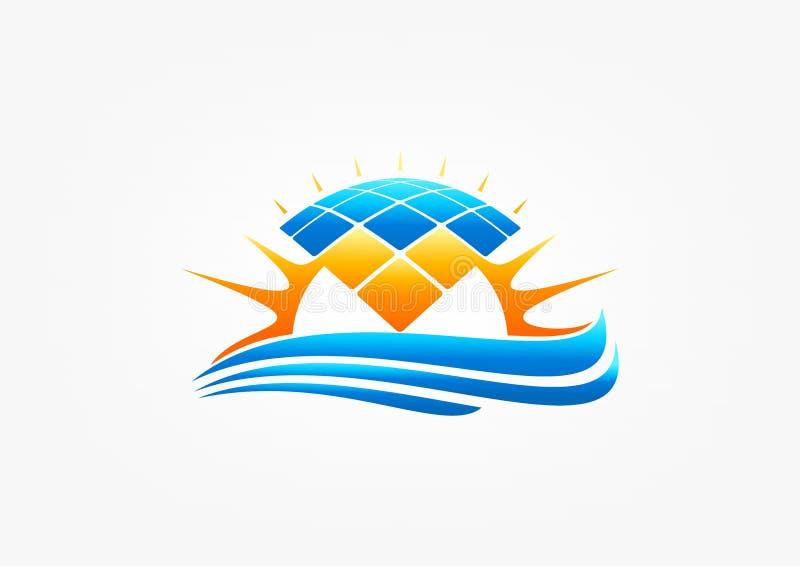Λογότυπο ηλιακού πλαισίου, σύμβολο ήλιων modul, ηλεκτρική ενέργεια κυμάτων φύσης, θέρμανση αέρα, εικονίδιο δύναμης, και σχέδιο εν διανυσματική απεικόνιση
