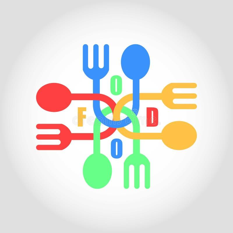 Λογότυπο δικράνων και κουταλιών ελεύθερη απεικόνιση δικαιώματος