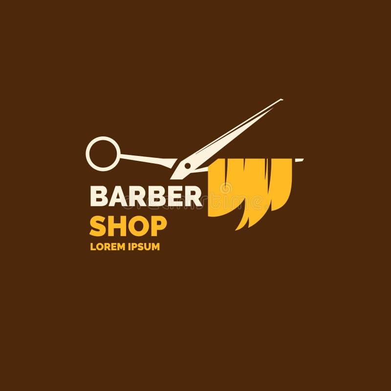 Λογότυπο και έμβλημα για το κατάστημα κουρέων Στοιχεία στην κοπή και τον προσδιορισμό της τρίχας διανυσματική απεικόνιση