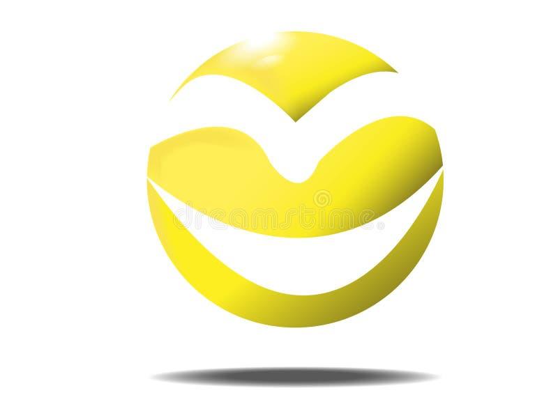 Λογότυπο και εικονίδιο σφαιρών προσώπου χαμόγελου διανυσματική απεικόνιση