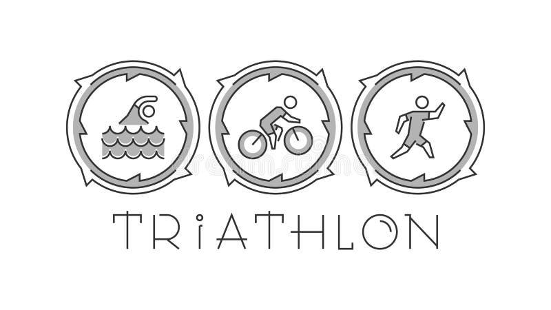 Λογότυπο και εικονίδια γραμμών triathlon Σκιαγραφίες των αριθμών triathlete απεικόνιση αποθεμάτων