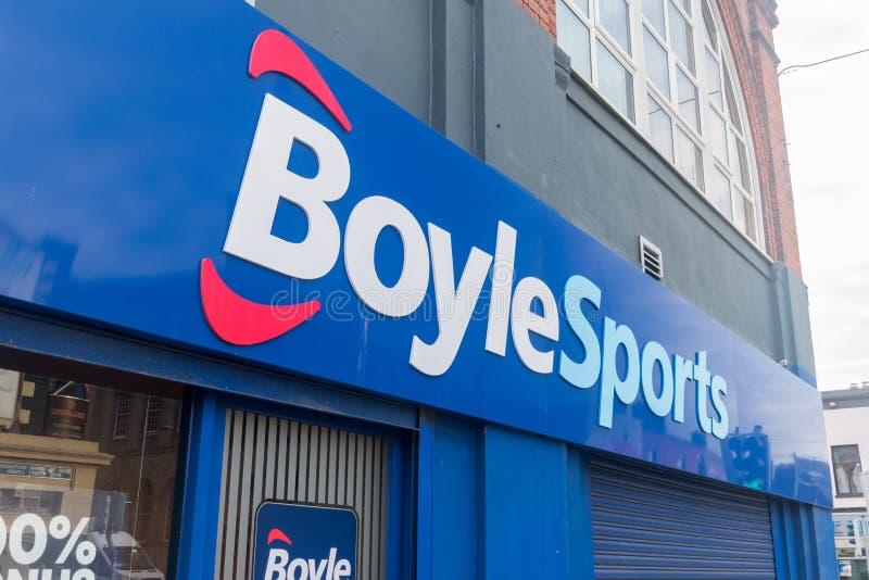 Λογότυπο και σήμα του BoyleSports betting και gaming shop στο Δουβλίνο στοκ εικόνα με δικαίωμα ελεύθερης χρήσης