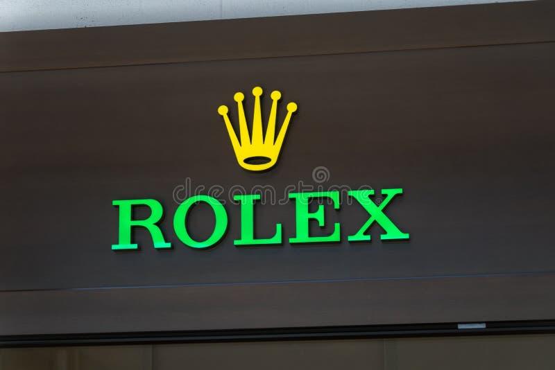 Λογότυπο και σημάδι της Rolex SA Η Rolex είναι ένας ελβετικός κατασκευαστής ρολογιών πολυτέλειας που βρίσκεται στη Γενεύη, Ελβετί στοκ εικόνα