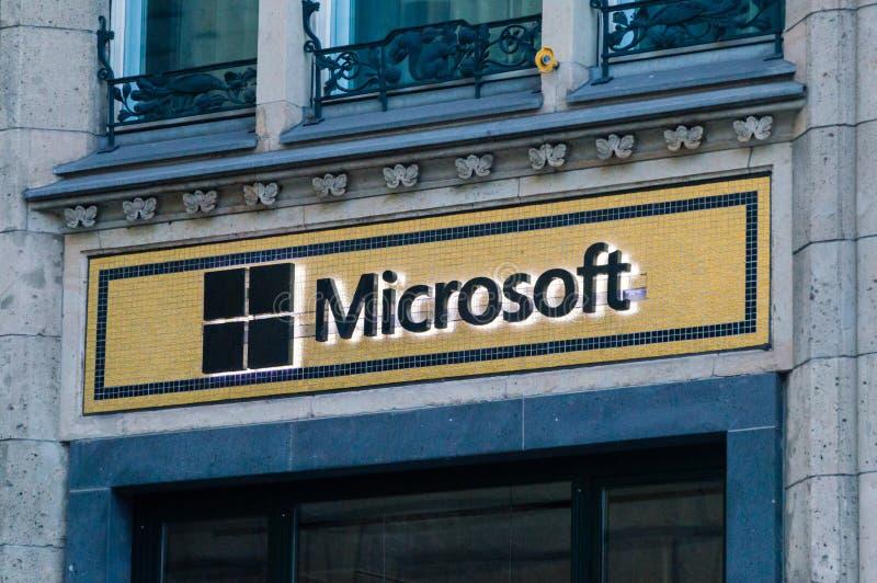 Λογότυπο και στεναγμός Microsoft στοκ φωτογραφία με δικαίωμα ελεύθερης χρήσης