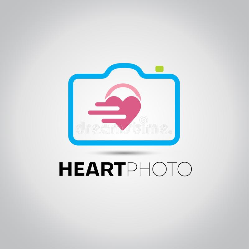 Λογότυπο καμερών φωτογραφιών καρδιών απεικόνιση αποθεμάτων