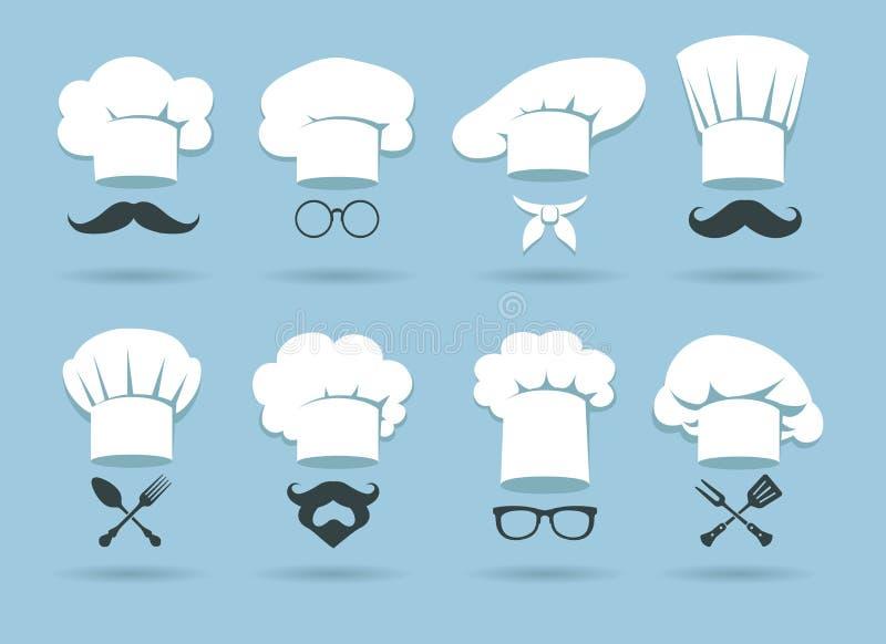 Λογότυπο καπέλων αρχιμαγείρων μαγείρων διανυσματική απεικόνιση