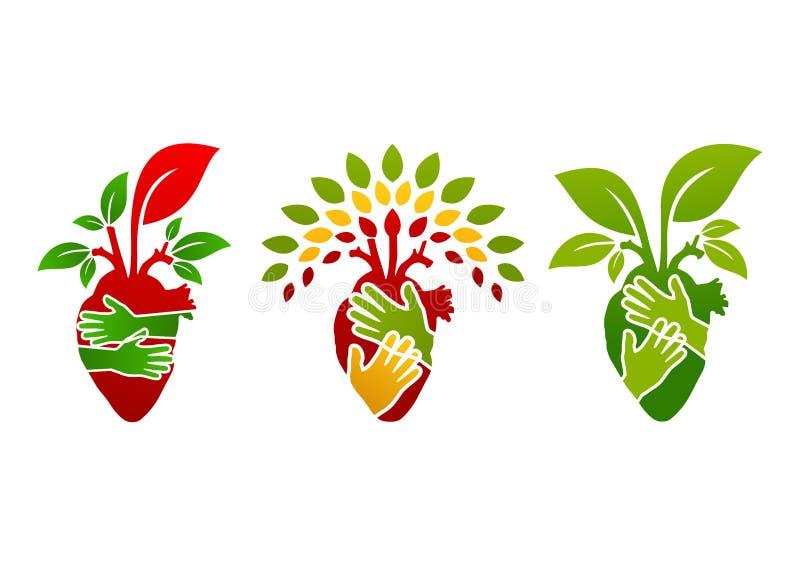 Λογότυπο καρδιών, σύμβολο ανθρώπων δέντρων, εικονίδιο εγκαταστάσεων φύσης και υγιές σχέδιο έννοιας καρδιών διανυσματική απεικόνιση