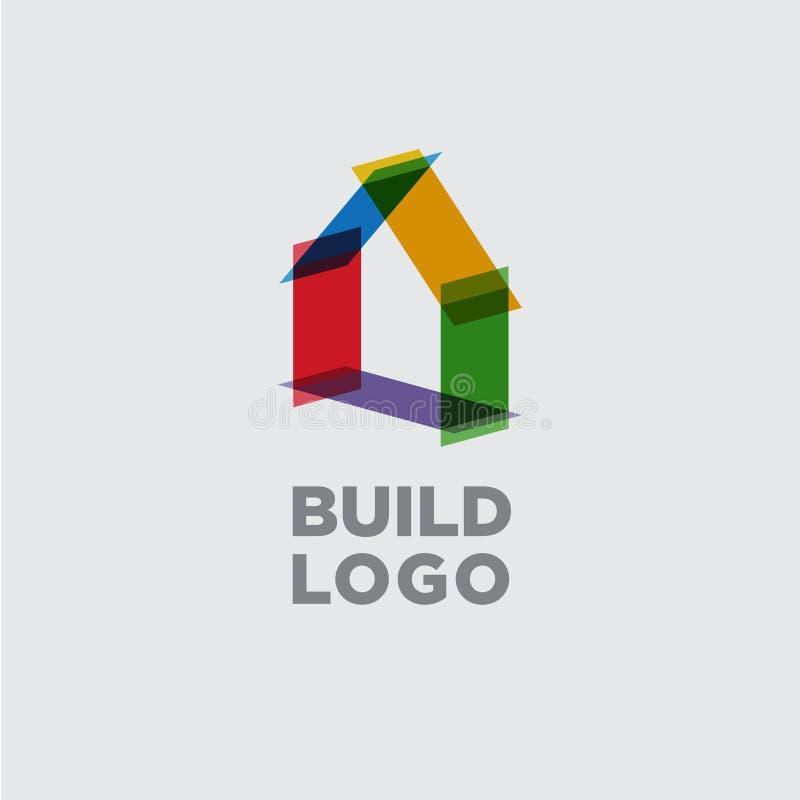 Λογότυπο κατασκευής ή οικοδόμησης Έμβλημα ακίνητων περιουσιών Το σπίτι αποτελείται από τα χρωματισμένα διαφανή στοιχεία ελεύθερη απεικόνιση δικαιώματος