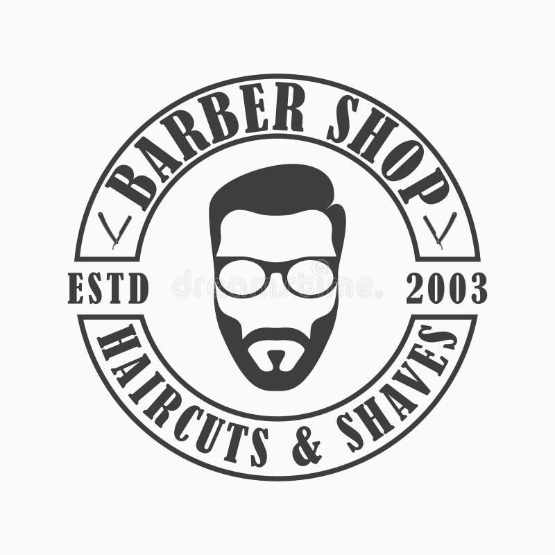 Λογότυπο καταστημάτων κουρέων Έμβλημα προτύπων Hairdressing του σαλονιού με το άτομο προσώπου με τη γενειάδα και τα γυαλιά, ευθύ  ελεύθερη απεικόνιση δικαιώματος